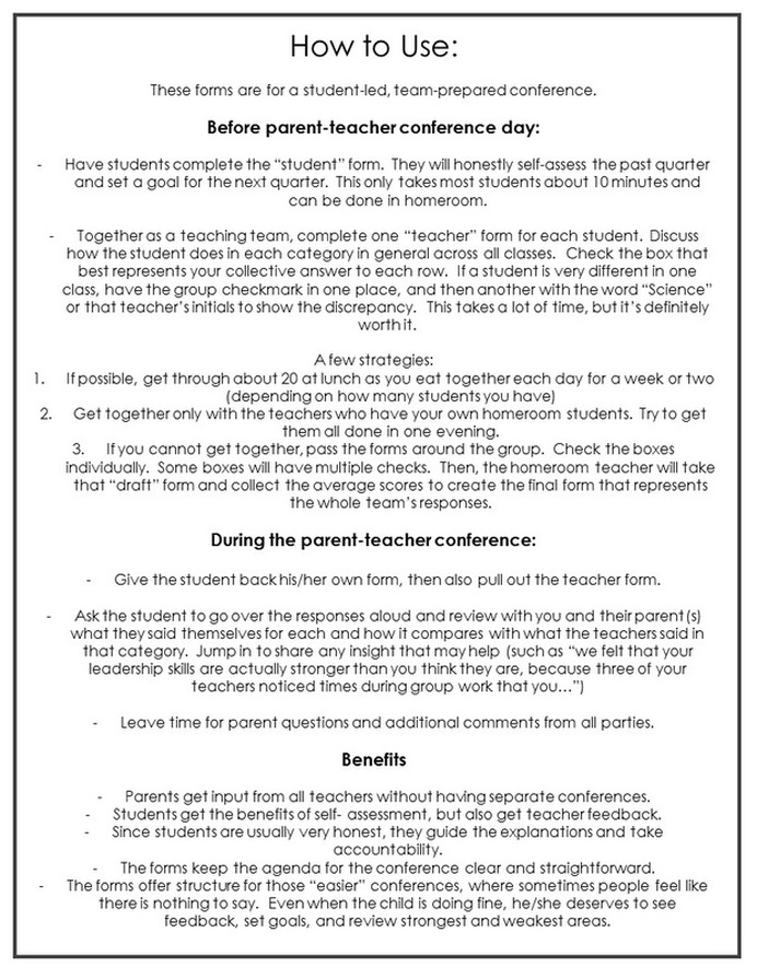 Parent - Teacher Conferences In Middle School - A New Approach